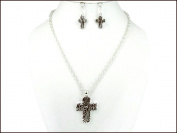 Necklace Earring Set-Cross Paisley-Silver