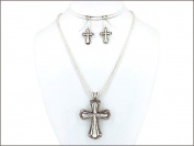 Necklace Earring Set-Cross Dots-Silver