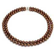 "Chocolate Freshwater Pearl Necklace for Women, Sterling Silver 2 Row 17"" & 18"", 8mm x 9mm"