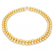 "Golden Freshwater Pearl Necklace for Women, Sterling Silver 2 Row 17"" & 18"", 8mm x 9mm"