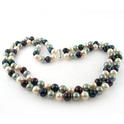 "Dark Multi-Colour Freshwater Pearl Necklace for Women, Sterling Silver 2 Row 17"" & 18"", 8mm x 9mm"