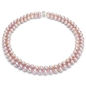 "Pink Freshwater Pearl Necklace for Women, Sterling Silver 2 Row 17"" & 18"", 8mm x 9mm"