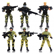 6Pcs Soldier Action Figures Model with Weapons Toy Playsets Wargame