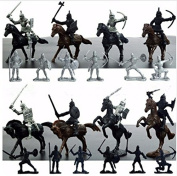 28Pcs Soldiers Figures Knights Horses Warrior Mediaeval Toy Play Set Mini Model Kids Toys