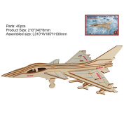 HuntGold 3D Puzzle Wooden Construction Creative Aeroplane Fighters Developmental Kids Chidlren DIY Toy Nice Gift