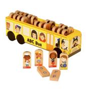 Fiesta Crafts T-2875 Wooden Alphabet School Bus Toy