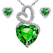 Devuggo Infinity 4.0 Carat TCW Heart Cut Gemstone Created Emerald 925 Sterling Silver Necklace Pendant and Earrings 3 Pieces Jewellery Set