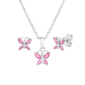 Sterling Silver Butterfly Earrings and Pendant Set with Simulated Birthstone & CZ for Girls