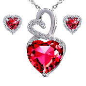 Devuggo Infinity 4.0 Carat TCW Heart Cut Gemstone Created Ruby 925 Sterling Silver Necklace Pendant and Earrings 3 Pieces Jewellery Set