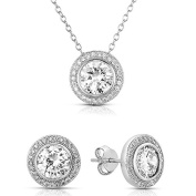 Sterling Silver Cubic Zirconia Round Halo Earrings and Pendant Necklace Jewellery Set