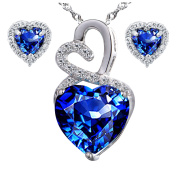 Devuggo Infinity 4.0 Carat TCW Heart Cut Gemstone Created Blue Sapphire 925 Sterling Silver Necklace Pendant and Earrings 3 Pieces Jewellery Set