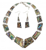 Natural Abalone Shell Necklace and Dangle Earrings Set, 41cm - 46cm Adjustable Chain