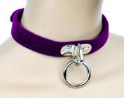 Purple Velvet Choker Sexy O Ring Fetish Collar