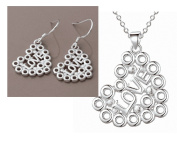 Love Bubbles Sterling Silver Heart Matching Necklace and Earrings Set Silver