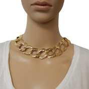 Beaute Fashion Chunky Chain Collar Choker Necklace Metallic Necklace - with Free Bonus Earrings