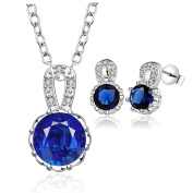 Elegant Blue Crystal Sterling Silver Jewellery Set, Necklace and Earrings