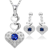 Elegant Sterling Silver Heart Shaped Jewellery Set With Necklace and Earrings
