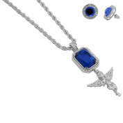 Mens 5.7cm Silver Plated Icy Two Pendant Blue Simulated Sapphire Square Spread Wing Angel with 60cm Rope Chain and Earrings Set