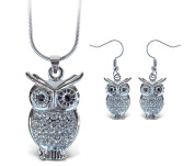Sparkling Necklace Sparkling Owl Necklace and Earrings Set