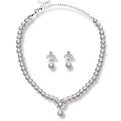 Glamour Goddess Jewellery NS607CS - Pearl Necklace Jewellery Set Rhinestone Crystal Silver Plated - Bridal Necklace - Wedding - Prom