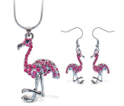 Sparkling Necklace Sparkling Flamingo Necklace and Earrings Set