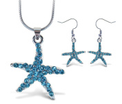 Sparkling Necklace Sparkling Starfish Necklace and Earrings Set