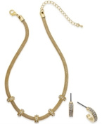 Charter Club Gold-Tone Mesh Round Necklace and Small Hoop Earrings Set