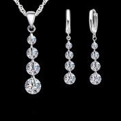 4 Drop Round Zirconia Necklace Earring Stainless Steel Silver Jewellery Set J-129