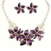 Flower Necklace And Earring Set Purple and Gold Flower with Crystal Tarnish Resistant, J-13