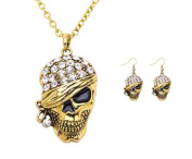 Gold Plated Skull Necklace Earring Crystal Pirate Jewellery Anti-Tarnish Set J-155