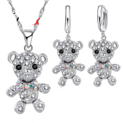 Teddy Bear Quality Zirconia Necklace Earring Stainless Steel Silver Layered Jewellery Set J-124