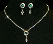 #12924 -Emerald Rosette Pear Drop Necklace and Earring Set