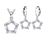 Pentagram Zirconia Necklace Earring Stainless Steel Silver Layered Jewellery Quality Set J-120