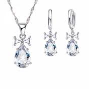 Teardrop Quality Zirconia Necklace Earring Stainless Steel Silver Layered Jewellery Set J-122
