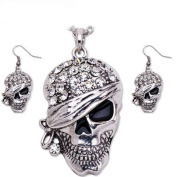 Silver Plated Skull Necklace Earring Crystal Pirate Jewellery Anti-Tarnish Set J-156