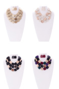 Womens Coloured Metal Square Fashion Necklace Earring Set JN0205