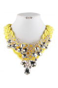 Women Colourful Stone and Chain Mixed Statement Necklace and earring set JHN16