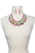 Neon Rainbow Twisted Necklace Earrings Set CN0884-Multi