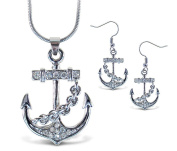 Sparkling Necklace Sparkling Anchor Necklace and Earrings Set