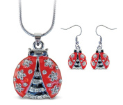 Sparkling Necklace Sparkling Ladybug Necklace and Earrings Set