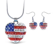 Sparkling Necklace Sparkling American Heart Necklace and Earrings Set