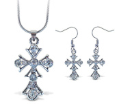 Sparkling Necklace Sparkling Cross Necklace and Earrings Set