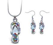 Sparkling Necklace Sparkling Flip Flop Necklace and Earrings Set
