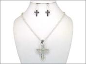 Necklace Earring Set-Cross Diamonds-Silver