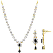 Gold Plated Simulated Clear and Black Onyx Colour Stone Necklace Earrings Set