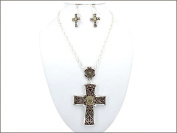 Necklace Earring Set-Large Cross Medallion-Two Tone