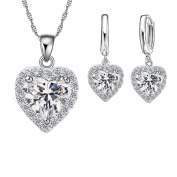 Heart Cubic Zirconia Necklace Earring Stainless Steel Silver Layered Quality Jewellery Set J-119