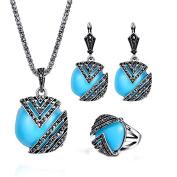 Sky Blue Crystal Pendant Necklace Earrings Ring 3pcs Marcasite Stones Antique Style CM-3PCS