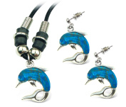 Puzzled Aqua Dolphin Wild Style Necklace and Earrings