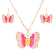 Colourful Butterfly Necklace Earring Set Gold Pink Yellow White Tarnish Resistant, JBF-NE01
